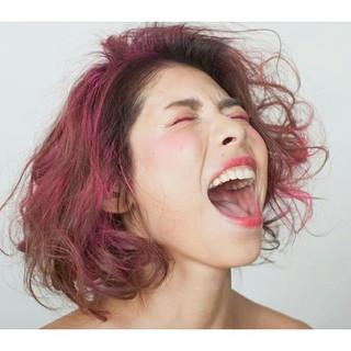モード ボブ ピンク レッド ヘアスタイルや髪型の写真・画像