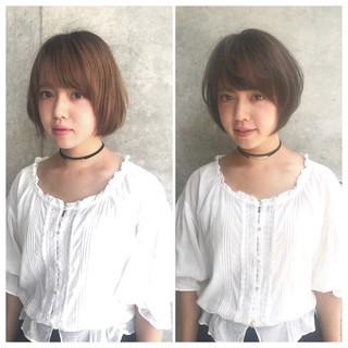 ナチュラル 大人かわいい 小顔 ショート ヘアスタイルや髪型の写真・画像