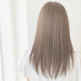 可愛い ふんわり ストレート セミロング ヘアスタイルや髪型の写真・画像