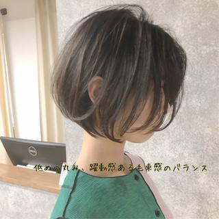 ショートボブ ミニボブ 小顔 縮毛矯正 ヘアスタイルや髪型の写真・画像