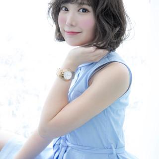 ピュア フェミニン 前髪あり 大人かわいい ヘアスタイルや髪型の写真・画像