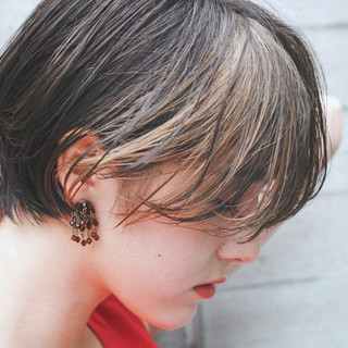 3Dハイライト ハンサムバング ショートヘア ショート ヘアスタイルや髪型の写真・画像