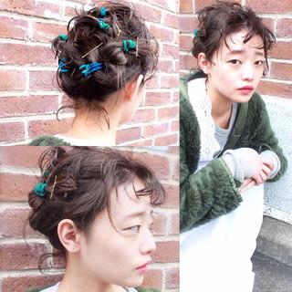 セミロング ハーフアップ 前髪あり ヘアアレンジ ヘアスタイルや髪型の写真・画像