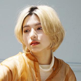ハイトーンボブ ミニボブ ブリーチオンカラー ブリーチ ヘアスタイルや髪型の写真・画像