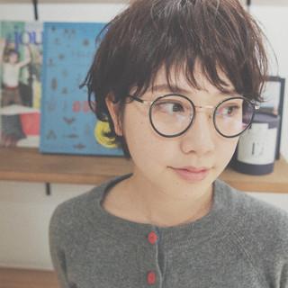 ショートバング 外国人風 ナチュラル オン眉 ヘアスタイルや髪型の写真・画像