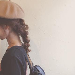 ベレー帽 ヘアアレンジ デート フェミニン ヘアスタイルや髪型の写真・画像