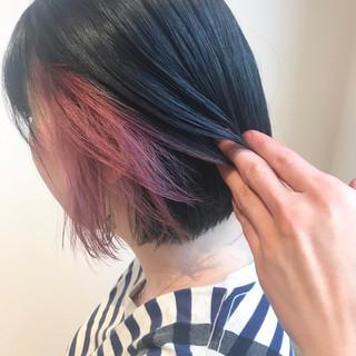 ナチュラル ミニボブ ブルーブラック ボブ ヘアスタイルや髪型の写真・画像