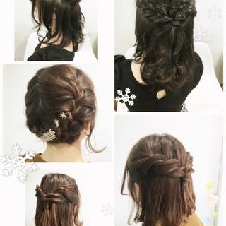 セミロング ガーリー ヘアアレンジ ハーフアップ ヘアスタイルや髪型の写真・画像