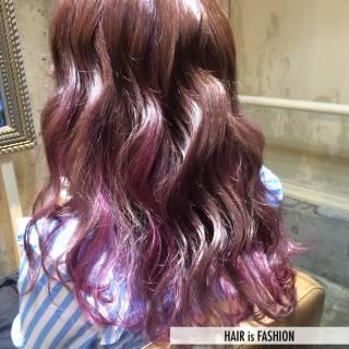 グラデーションカラー ストリート ガーリー ピンク ヘアスタイルや髪型の写真・画像