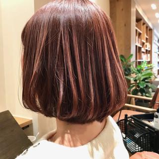 ピンクアッシュ ピンクベージュ 透明感カラー モテボブ ヘアスタイルや髪型の写真・画像