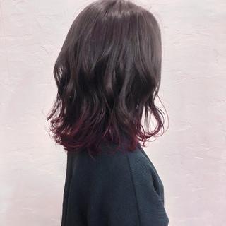 ピンクバイオレット モード パーマ ミディアム ヘアスタイルや髪型の写真・画像
