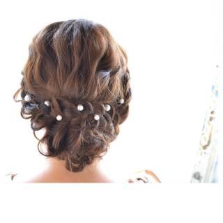 結婚式 セミロング コンサバ モテ髪 ヘアスタイルや髪型の写真・画像