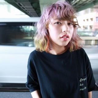 ミディアム グラデーションカラー カラフルカラー ダブルカラー ヘアスタイルや髪型の写真・画像