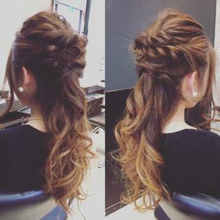 ヘアアレンジ 女子会 フェミニン 結婚式 ヘアスタイルや髪型の写真・画像