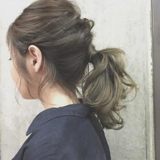 ゆるふわ ヘアアレンジ セミロング 夏 ヘアスタイルや髪型の写真・画像 ヘアスタイルや髪型の写真・画像