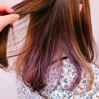カラーバター 透明感カラー セミロング インナーカラーパープル ヘアスタイルや髪型の写真・画像 ヘアスタイルや髪型の写真・画像