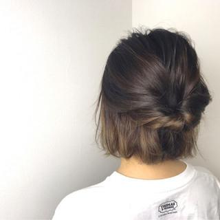 ナチュラル ヘアアレンジ ボブ インナーカラー ヘアスタイルや髪型の写真・画像