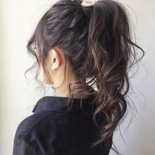 ポニーテール ヘアアレンジ ロング ガーリー ヘアスタイルや髪型の写真・画像
