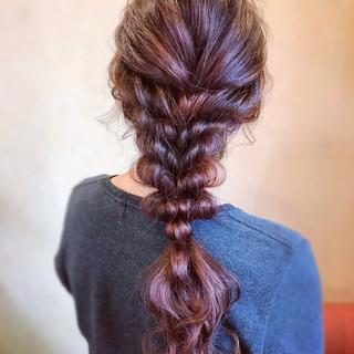 逆りんぱ ロング 編みおろし フェミニン ヘアスタイルや髪型の写真・画像 ヘアスタイルや髪型の写真・画像