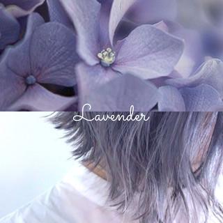 ラベンダー ラベンダーピンク ラベンダーグレージュ ミディアム ヘアスタイルや髪型の写真・画像