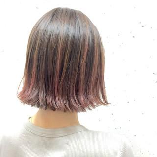 ピンク 外国人風カラー レッド ボブ ヘアスタイルや髪型の写真・画像