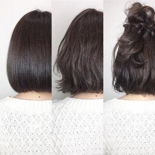 ボブ 切りっぱなし ヘアアレンジ ハーフアップ ヘアスタイルや髪型の写真・画像 ヘアスタイルや髪型の写真・画像