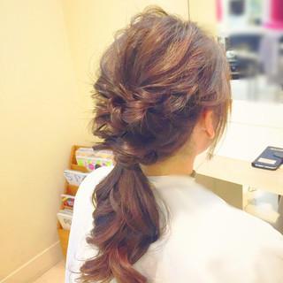 結婚式 ヘアアレンジ ポニーテール 大人かわいい ヘアスタイルや髪型の写真・画像