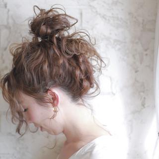 ハーフアップ セミロング ヘアアレンジ 夏 ヘアスタイルや髪型の写真・画像