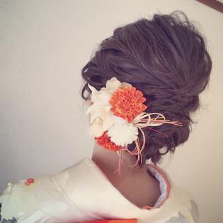 ヘアアレンジ セミロング 和装 大人かわいい ヘアスタイルや髪型の写真・画像