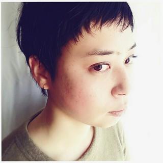 ナチュラル 小顔 黒髪 ショート ヘアスタイルや髪型の写真・画像