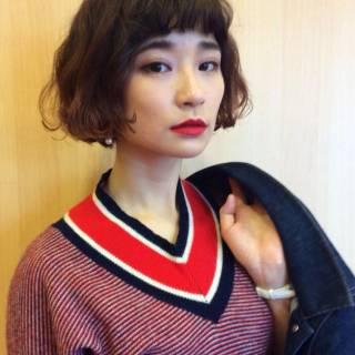 ウェーブ オン眉 外国人風 ボブ ヘアスタイルや髪型の写真・画像