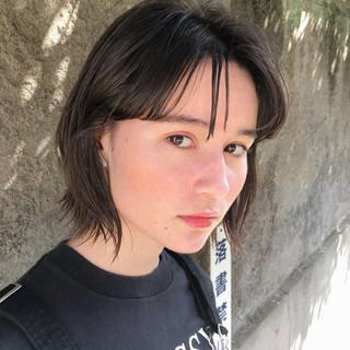 パーマ モード 前髪あり シースルーバング ヘアスタイルや髪型の写真・画像