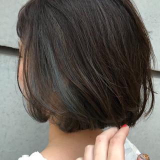 オフィス ボブ ブルー デート ヘアスタイルや髪型の写真・画像