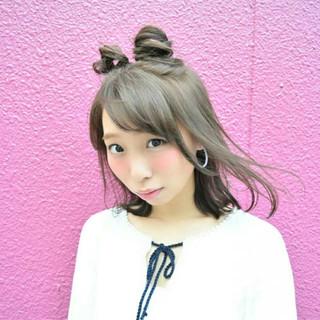 夏 ヘアアレンジ ガーリー ピュア ヘアスタイルや髪型の写真・画像