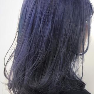 ネイビー ミディアム パープル ブルー ヘアスタイルや髪型の写真・画像