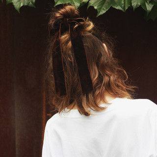 簡単ヘアアレンジ ナチュラル ハーフアップ デート ヘアスタイルや髪型の写真・画像