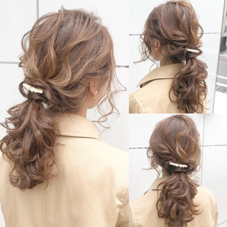 簡単ヘアアレンジ ロング オフィス 結婚式 ヘアスタイルや髪型の写真・画像