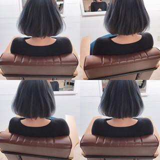 ミルクティー ボブ フリンジバング デート ヘアスタイルや髪型の写真・画像