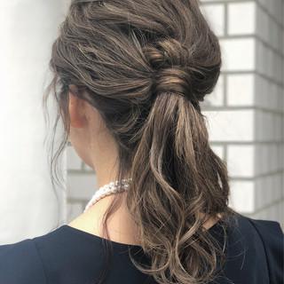 ヘアアレンジ ミディアム ポニーテール 外国人風 ヘアスタイルや髪型の写真・画像 ヘアスタイルや髪型の写真・画像