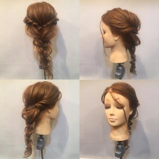ヘアアレンジ 編み込み 三つ編み セミロング ヘアスタイルや髪型の写真・画像