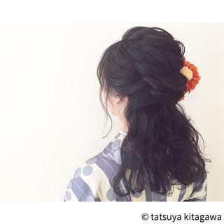 ガーリー ハーフアップ ヘアアレンジ セミロング ヘアスタイルや髪型の写真・画像