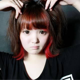 ロブ ストリート インナーカラー 春 ヘアスタイルや髪型の写真・画像