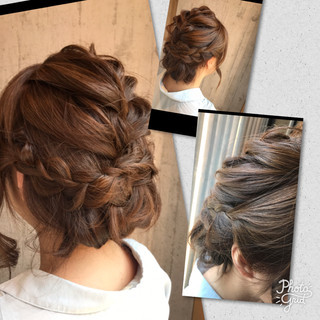 ミディアム デート くるりんぱ ヘアアレンジ ヘアスタイルや髪型の写真・画像 ヘアスタイルや髪型の写真・画像