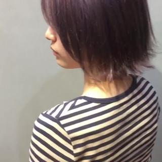 ボブ パープル インナーカラーパープル ピンクパープル ヘアスタイルや髪型の写真・画像