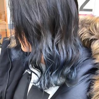 バレイヤージュ セミロング ストリート 簡単ヘアアレンジ ヘアスタイルや髪型の写真・画像