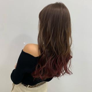 コテ巻き N.オイル セミロング ピンク ヘアスタイルや髪型の写真・画像
