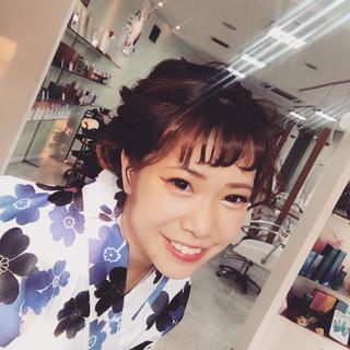 花火大会 ガーリー ミディアム 涼しげ ヘアスタイルや髪型の写真・画像