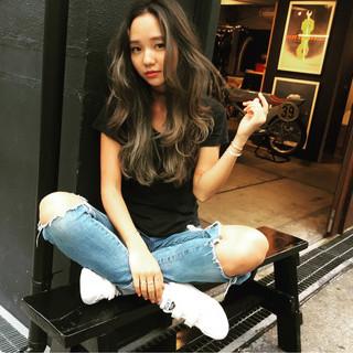 ロング 外国人風 ハイライト ストリート ヘアスタイルや髪型の写真・画像