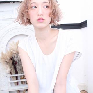 色気 ゆるふわ ピュア ボブ ヘアスタイルや髪型の写真・画像