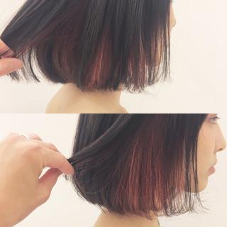 ストリート インナーカラー グレージュ ボブ ヘアスタイルや髪型の写真・画像